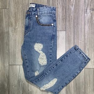 Pull & Bear | Blue Distressed Cigarette Jeans